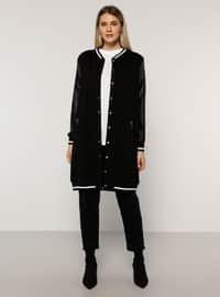Ecru - Black - Unlined - Crew neck -  - Plus Size Coat