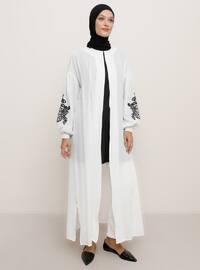 White - Unlined - Crew neck - Viscose - Topcoat