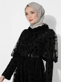 Siyah - Çok Renkli - Balıkçı Yaka - Astarlı Kumaş - Elbise