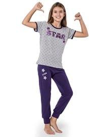 Multi - Crew neck -  - Purple - Plum - Girls` Suit