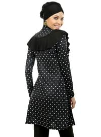 Black - Polka Dot - Fully Covered Swimsuits