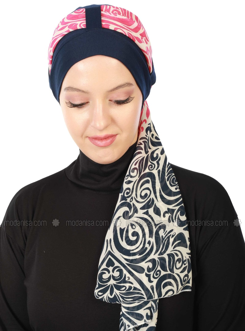 Fuchsia - Navy Blue - Printed - Combed Cotton - Instant Scarf