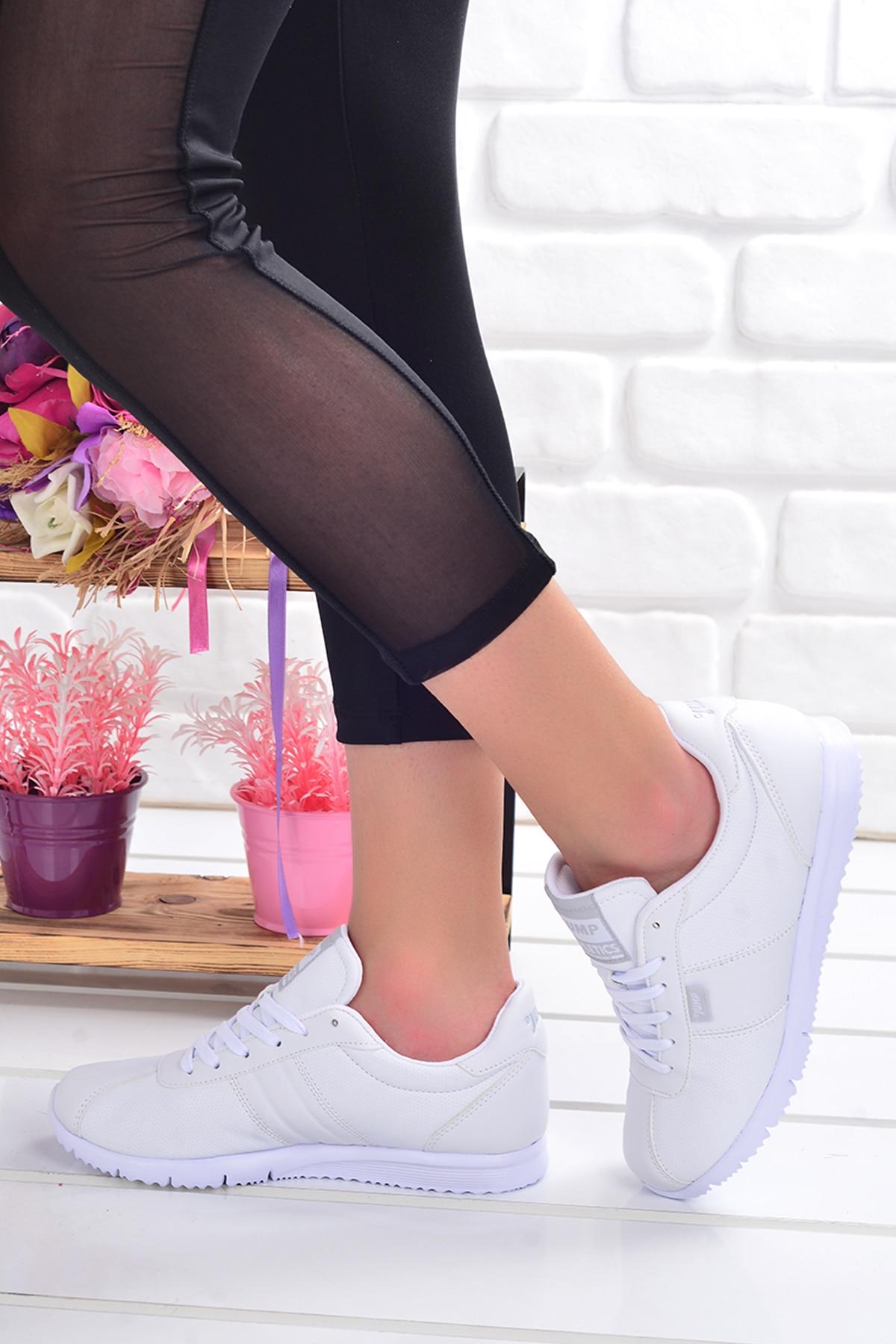 Tesettür Spor Ayakkabı Jump Beyaz Kadın 38