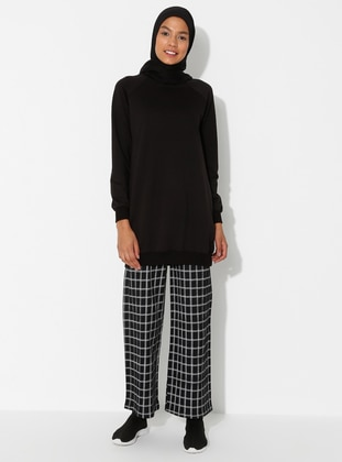 Black - Checkered - Cotton - Pants