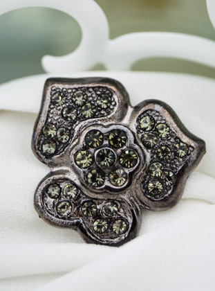 Anthracite - Silver tone - Brooch