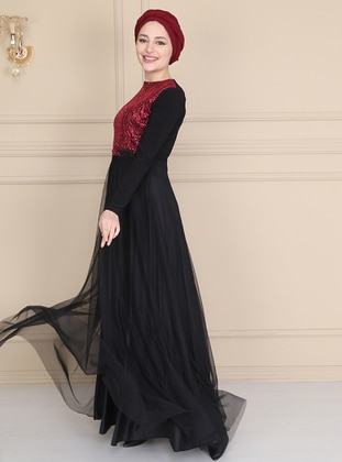 Maroon - Black - Fully Lined - Crew neck - Muslim Evening Dress