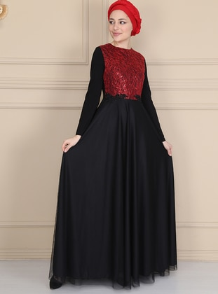 Red - Black - Fully Lined - Crew neck - Muslim Evening Dress