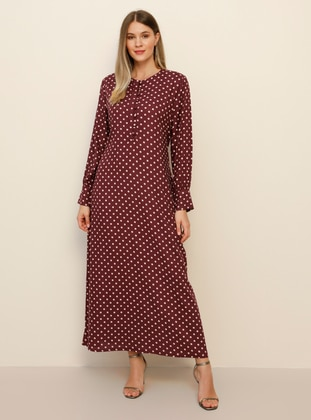 Maroon - Multi - Unlined - Crew neck - Viscose - Plus Size Dress