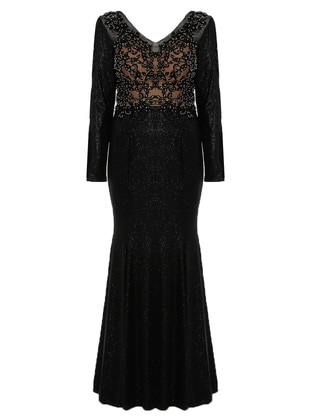 Black - Fully Lined - V neck Collar - Modest Plus Size Evening Dress