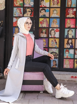 Gray - Unlined - Abaya -  Sports