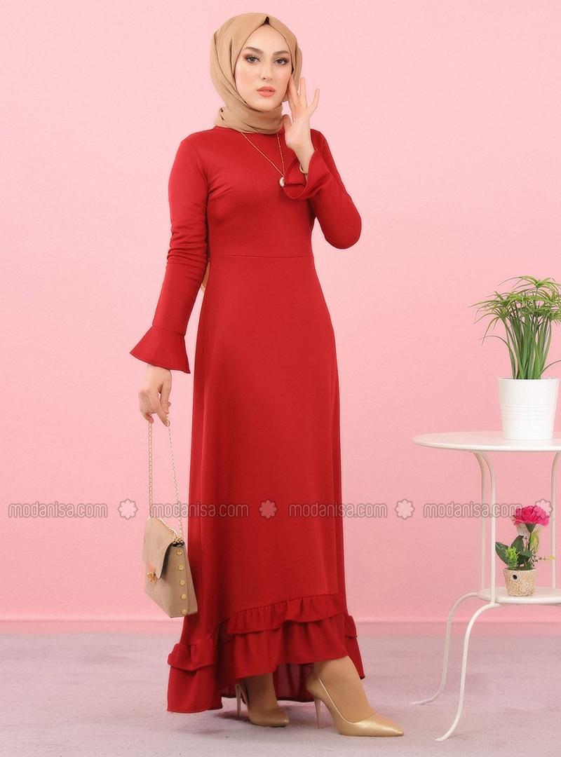 Bordo - Yuvarlak yakalı - Astarsız kumaş - Elbise