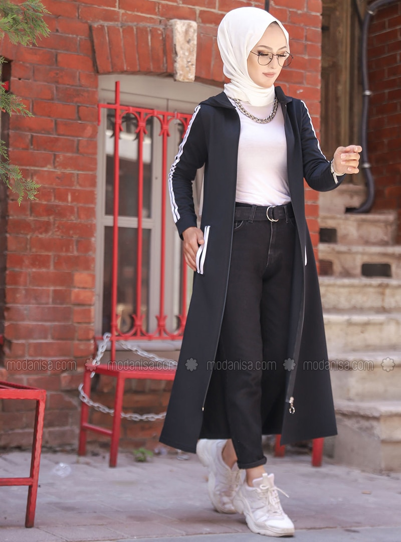 Black - Unlined - Abaya -  Sports