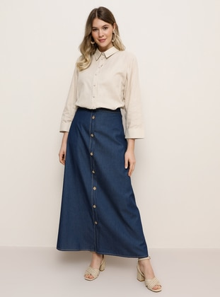 Blue - Unlined -  Lyocell - Plus Size Skirt