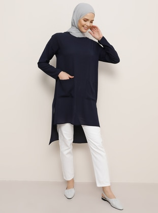 Navy Blue - Crew neck - Tunic