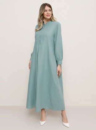 Sea-green - Unlined - Crew neck -  - Plus Size Dress - Alia