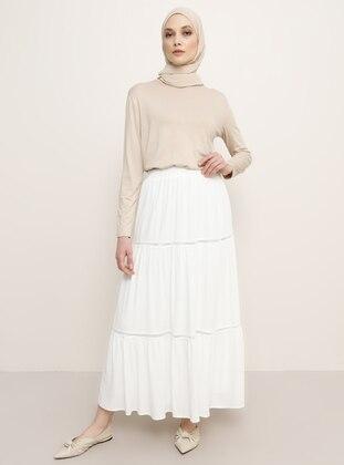 White - Ecru - Stripe - Unlined - Viscose - Skirt