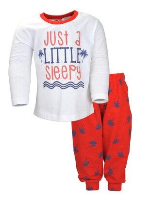 Multi - Crew neck -  - Red - Boys` Pyjamas