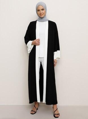 White - Black - Unlined - Abaya