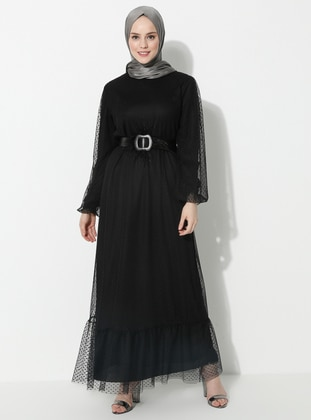 Black - Crew neck - Fully Lined -  - Dress