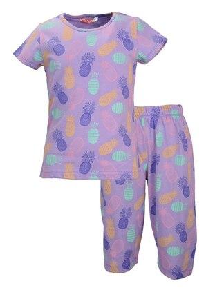 Multi - Crew neck -  - Purple - Girls` Pyjamas
