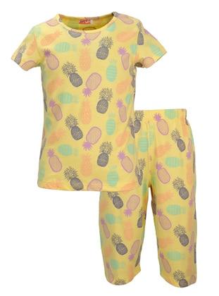 Multi - Crew neck -  - Yellow - Girls` Pyjamas