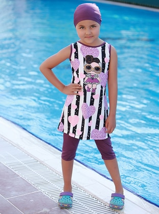 Multi - Crew neck - Purple - Girls` Swimsuit