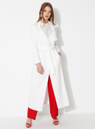 White - Ecru - Unlined - Shawl Collar -  - Trench Coat - Fashion Light