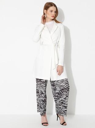 White - Ecru - Unlined - Shawl Collar -  - Jacket - Fashion Light