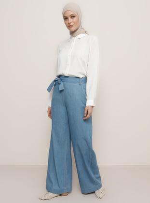 Blue - Denim - Lyocell - Pants - Refka