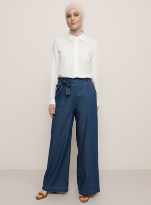 Blue - Denim -  Lyocell - Pants - Refka