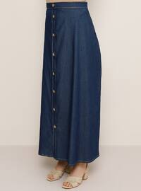 Blue - Unlined - Lyocell - Plus Size Skirt