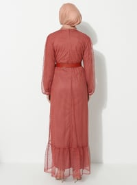 Terra Cotta - Crew neck - Fully Lined -  - Dress