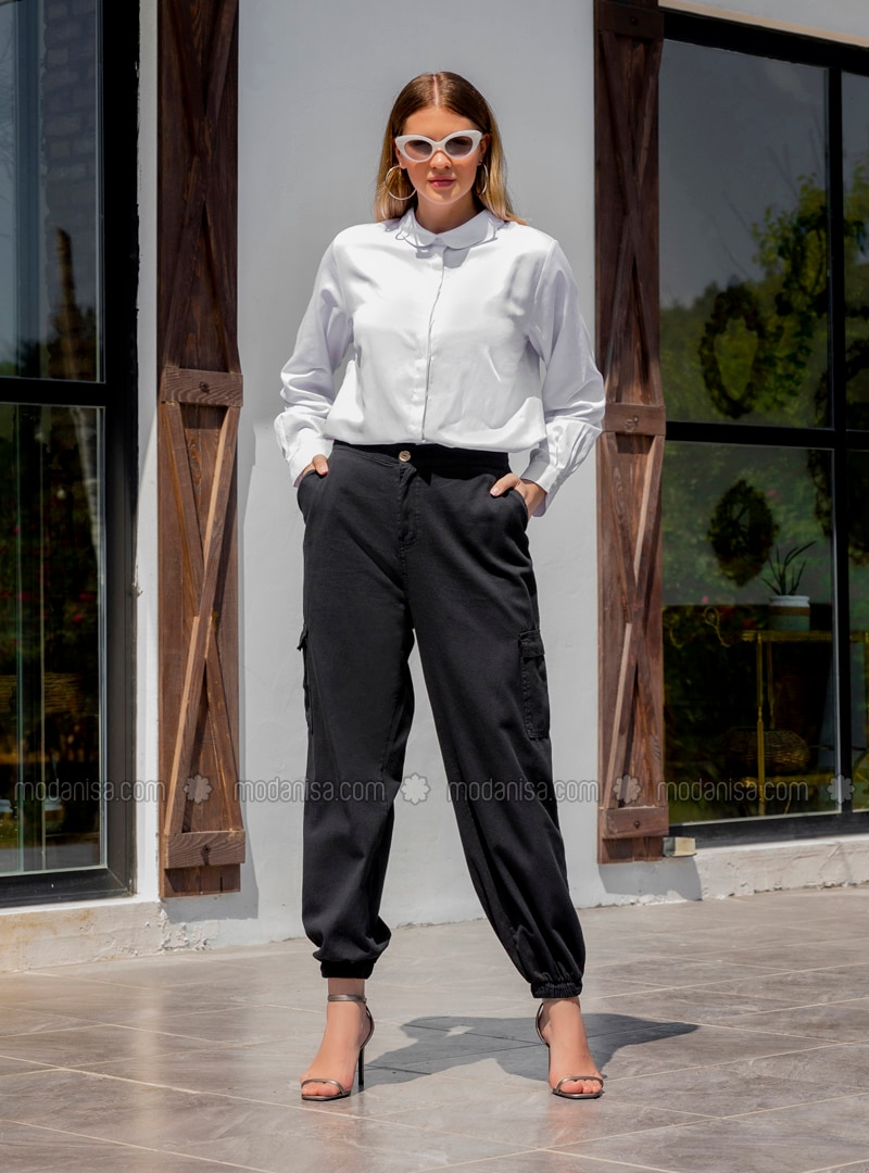 Black -  - Plus Size Pants