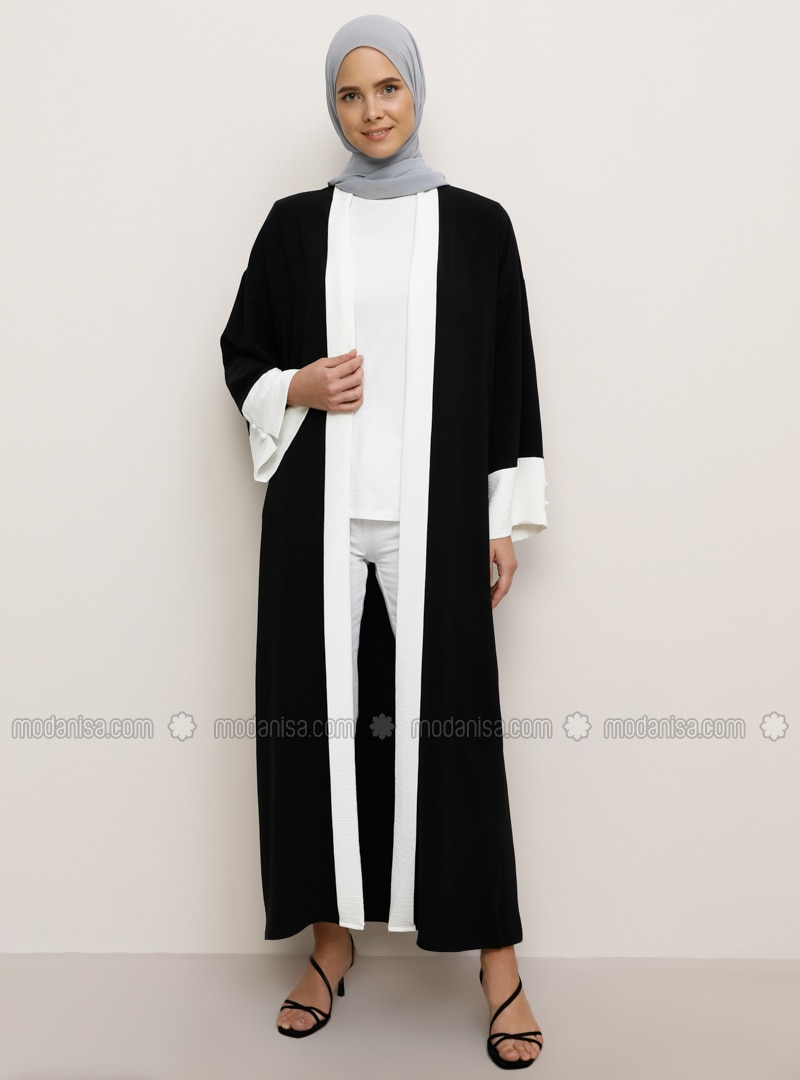 White - Black - Unlined - Abaya