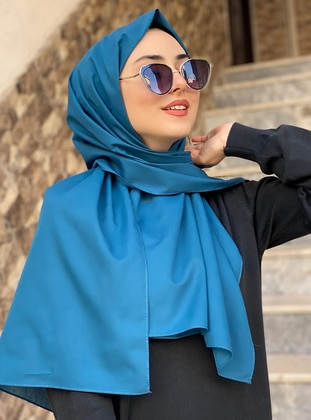 Blue - Petrol - Plain -  - Shawl