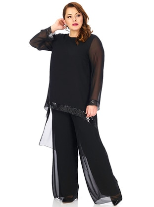 Black - Crew neck - Fully Lined - Plus Size Suit