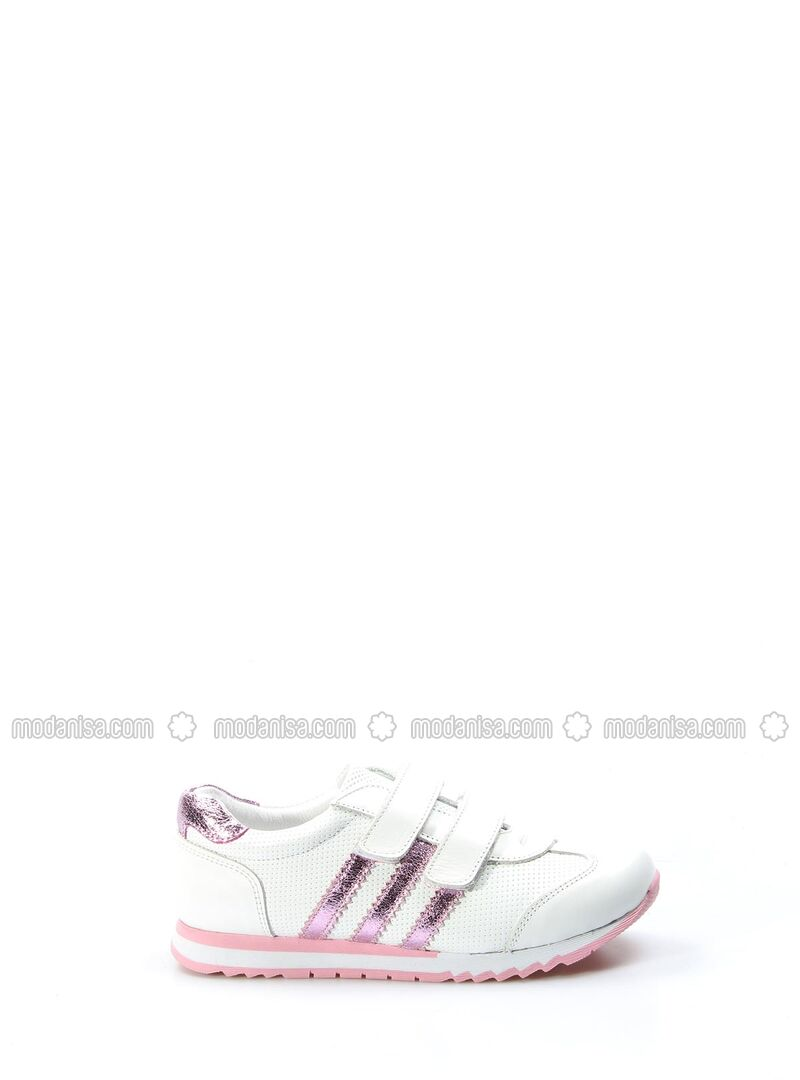 White - Pink - Sport - Girls` Shoes