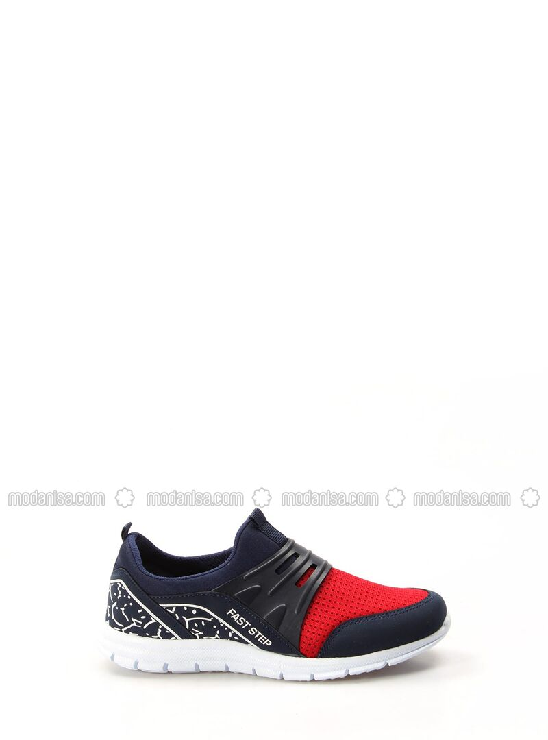 Red - Navy Blue - Sport - Casual - Girls` Shoes