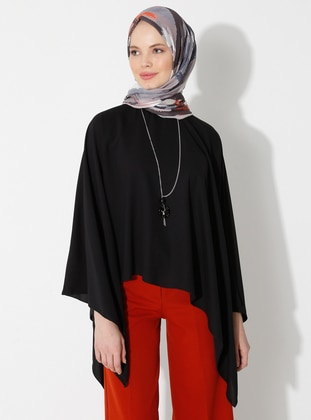 Black - Crew neck - Unlined - Poncho - Tuncay