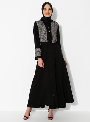 Cream - Black - Unlined - Crew neck - Abaya