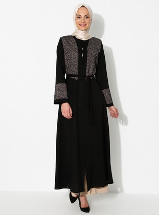Brown - Black - Unlined - Crew neck - Abaya
