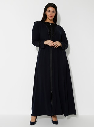 Navy Blue - Crew neck - Abaya
