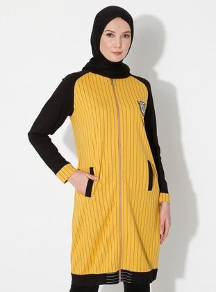 Mustard - Stripe - Unlined - Crew neck - Viscose - Topcoat