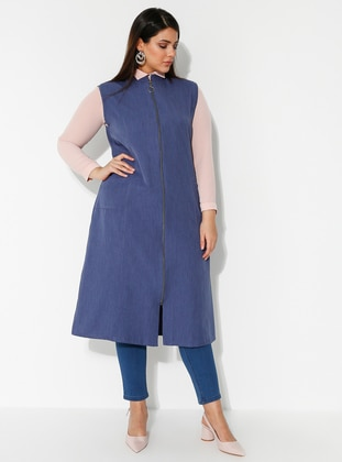 Indigo - Crew neck - Plus Size Vest - DİLAY MODA