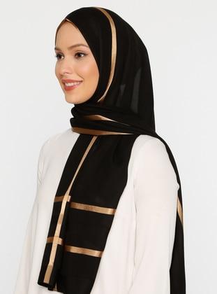 Gold - Black - Striped - Plain - Shawl
