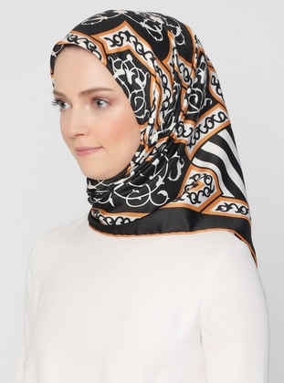 Gold - Black - Striped - Printed - Scarf