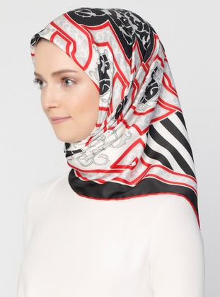 Red - Black - Striped - Printed - Scarf