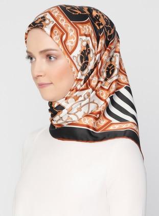 Black - Cinnamon - Striped - Printed - Scarf