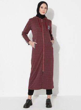 Maroon - Stripe - Unlined -  - Topcoat