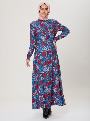 Blue - Multi - Point Collar - Unlined - Dress